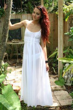 "Grecian Goddess Bridal Nightgown Wedding Lingerie White Nylon 246"" Full Sweep Angelic Honeymoon Gown. $95.00, via Etsy."