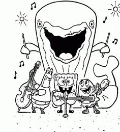 spongebob and gary coloring pages