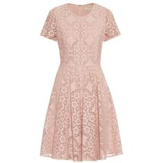 Burberry London Velma crochet-lace dress (43.435 RUB) ❤ liked on Polyvore featuring dresses, burberry, lace dress, lacy dress, pale pink dress and pink dress
