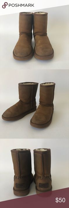 UGG Big Kid Chestnut Classic Deco Boots Size 3 UGG Australia Chestnut Classic Short Deco  Size 3 Pre-owned *Some water damage UGG63 UGG Shoes Boots