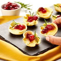 """✨BRIE BITES w/ CRANBERRY COMPOTE✨ Our shareable app is stuffed with melty cheese and a pop of sweet! Easy to make and to serve. Keep this recipe for all of your holiday planning. """"Click"""" image for the easy recipe! Low Carb Recipes, Easy Recipes, Gluten Free Wraps, Brie Bites, Mini Muffin Pan, Baked Brie, Thanksgiving Appetizers"""