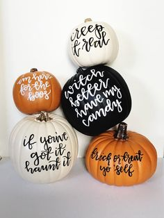 Decorative pun-kin : witch better have my candy This black craft pumpkin is hand lettered with acrylic paint. Perfect for home decor in the fall or halloween party decorations! Dimensions: 9 inches tall and wide