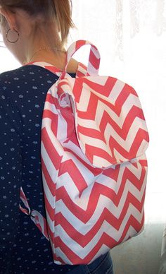 My Carrie Full Sized Coral and White Chevron Backpack on Etsy, $43.50