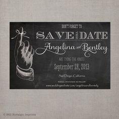 Vintage Chalkboard Save the Date Card  the by NostalgicImprints, $35.75