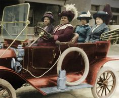 """"""" A colorized photo of Madam C. J. Walker with her friends and her Ford, the first of her family born free and the first self-made female millionaire in America. She made cosmetics for other black women, and in her will, dedicated..."""