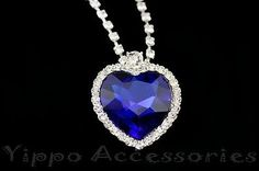 Titanic Heart Of The Ocean Sapphire Blue CZ Crystal Necklace Pendant Jewelry Party, Jewelry Crafts, Real Titanic, Crystal Necklace, Pendant Necklace, Royal Blue Bridesmaid Dresses, Ocean Heart, Beautiful Rings, Jewelry Rings