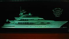 Replica of a mega yacht carved in glass x Sandblasted glass by Stuebner Glass Design Drilling Glass, Glass Etching, Etched Glass, Sandblasted Glass, Glass Design, Glass Panels, Fantasy Art, Glass Art, Around The Worlds