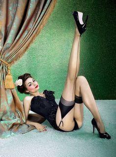 classic Pinup shot in black lingerie