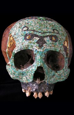 virtual-artifacts: Human skull decorated with a polychromic mosaic • Mixtec-Aztec, Mexico • 1300-1521 A.D. • Tessels of turquoise, hematite...