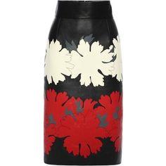 Alexander McQueen Flower Print Leather Pencil Skirt