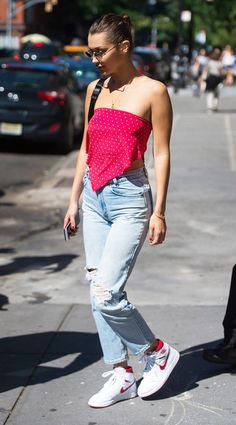 Bella Hadid rocked a bandana top while out and about in New York City.