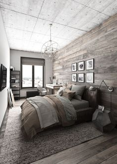 Modern rustic bedroom design featuring reclaimed wood accent wall and flooring, and textured layers of bedding in tan, brown, and green - Home Decor & Decorating Ideas