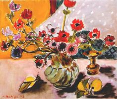 Anemones in Vase 1943. Henri Matisse Escolhi esta pintura porque achei interessante as flores e as cores vivas que o quadro apresenta.