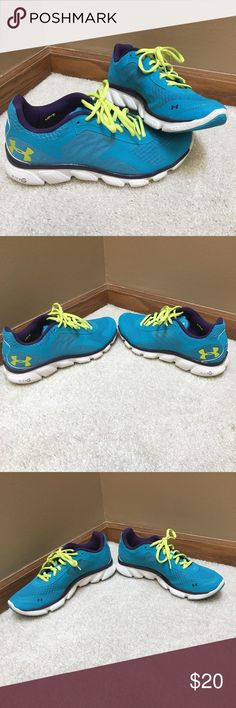 Under Armour Women's Gym Shoes very lightly worn purple, aqua, and yellow-green colored gym shoes. almost in perfect condition other than a few spots on the shoes. Under Armour Shoes Athletic Shoes