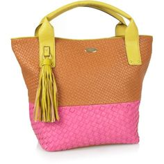 Tan large woven shopper bag ($68) found on Polyvore