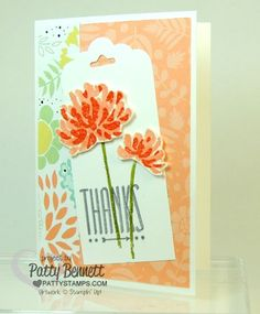 Too Kind flower stamp set featured on a Scalloped Tag Topper punch note card with Sweet Sorbet Sale a Bration DSP.  by Patty Bennett www.pattystamps.com