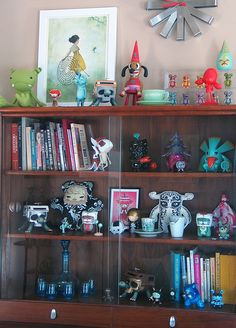 Display cabinet with some of my collection in my home. Toy Art, Toy Display, Shelving Display, Display Cabinets, Shelves, Shelf Arrangement, Vinyl Toys, Vinyl Art, Beautiful Interior Design