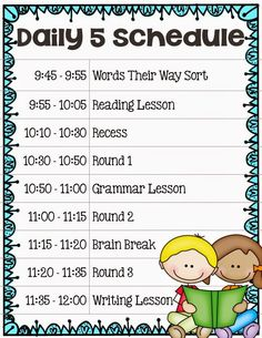 Implementing The Daily 5 In Second Grade - Our Daily Schedule: