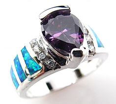 Blue Fire Opal Inlay Amethyst 925 Sterling Silver Ring Size US 8 NWT #180 #SolitairewithAccents