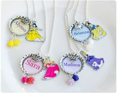 Personalized Princess Necklace  Cinderella Aurora by missmoodykids, $14.00