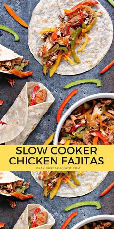These Slow Cooker Chicken Fajitas are easy to make but packed with intense flavour. Every bite is filled with peppers, onions and chicken! #slowcooker #crockpot #chicken #fajitas #dinner Wrap Recipes, Easy Dinner Recipes, Easy Meals, Yummy Recipes, Dinner Ideas, Dessert Recipes, Yummy Food, Best Slow Cooker, Slow Cooker Recipes