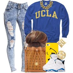 "I HAVE THESE JORDANS !!!!""UCLA."" by livelifefreelyy on Polyvore"