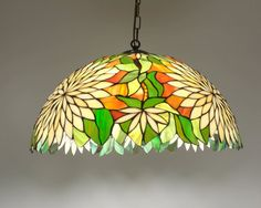 20.5 Tiffany Style Hanging Lamp. Hand crafted by AmberGlassArt