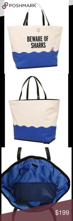 """NWT Kate spade beware of sharks beach tote Show your style and savvy with this """"Beware of Sharks"""" Kate Spade tote designed for a day on the beach with a zipped mesh compartment at the bottom for your swim suit and to let sand out of bag. Big and bold at 21 inches across tapering to 14 at the bottom where the depth is 6 inches. Stands About 14 inches tall with two open mesh interior pockets and one zipped pocket. Sturdy canvas with leather straps, base and signature gold spade. $249. kate…"""