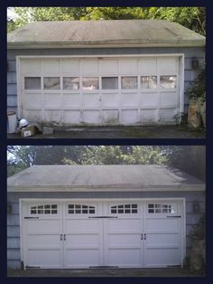 before after new courtyard double garage door with windows and hardware - Garage Door With Door