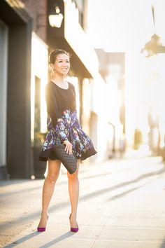 Sweet Floral :: Bubble hem dress & Magenta pumps : Wendy's Lookbook