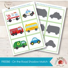 On the road shadow match, free printable.