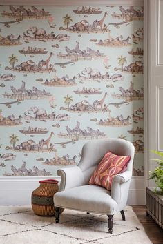 This unique Zambezi Wallpaper forms part of Cole & Son's Ardmore Collection and features watercolour images of boats filled with animals floating gently down the Zambezi River in Zimbabwe. Quirky Wallpaper, Contemporary Wallpaper, Animal Wallpaper, Of Wallpaper, Designer Wallpaper, Childrens Wallpaper Uk, Children Wallpaper, Eclectic Wallpaper, Wallpaper Designs