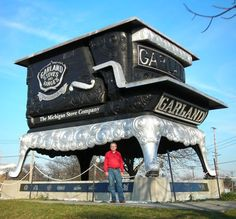 This giant stove used to be at the foot of E Grand Blvd & Jefferson  across from Belle Isle in Detroit, MI.  It was later relocated on the Michigan State Fairgrounds facing Woodward Ave near State Fair St, between 7 and 8 Mile road, in Detroit.
