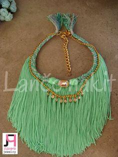 mint tassel necklace, handmade
