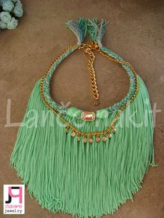 mint tassel necklace, handmade