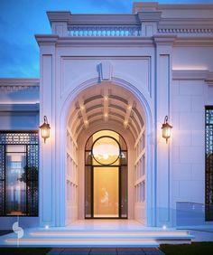 diwan entrance 2000 m plot private villa ksa Neoclassical Architecture, Classic Architecture, Architecture Details, Villa Design, Facade Design, Exterior Design, Villas, Classic House Design, Classic House Exterior