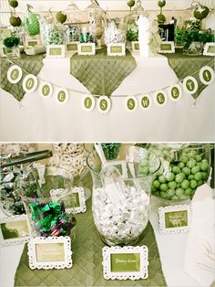 I like the way they set up this candy buffet table.  Cute and dressy for a wedding.