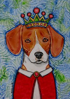 King Beaglean painting by Melinda Dalke 20% donation to Cascade Beagle Rescue