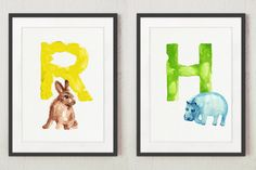 Kids Name Letters Set of 2 Colorful Animal Print, Twins Children Art, Two Single Monogram Letter, Hippo Rabbit Silhouette, Nursery Room Sign by ColorWatercolor on Etsy https://www.etsy.com/listing/269854794/kids-name-letters-set-of-2-colorful