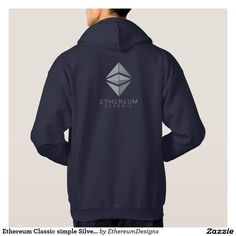 Ethereum Classic simple Silver (front & back) navy Hoodie on Zazzle. Designed by Andras Balogh