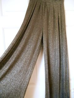 Vintage high waist wide leg Metallic silver 80's by houuseofwren