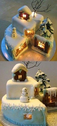 Christmas Eve cake–neatest cake I've ever seen - Cake Decorating Simple Ideen Christmas Cake Decorations, Christmas Sweets, Holiday Cakes, Christmas Cooking, Noel Christmas, Christmas Goodies, Christmas Cakes, Xmas Cakes, Pretty Cakes