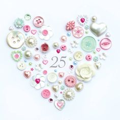 Personalised Silver Anniversary Pastel Button Heart