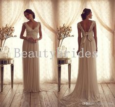 Simple Vintage Beach Lace Chiffon Wedding Dress with Capped Sleeves