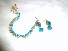 Ear Cuff/ Ear Wrap Earring Set Pair Electric Blue and by EdgYSheeQ