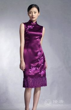 $10 off per $100 order 2012 Asian royal dress/Cheongsam/Vintage Qi Pao/Purple prom Chinese style dress/Party/Evening/Embroidery-in Cheongsams from Apparel & Accessories on Aliexpress.com