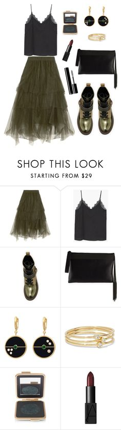 """Green"" by petra0710 ❤ liked on Polyvore featuring Brunello Cucinelli, MANGO, Jennifer Meyer Jewelry, Estée Lauder, NARS Cosmetics, Clutch, Boots, midiskirt, cami and brunellocucinelli"