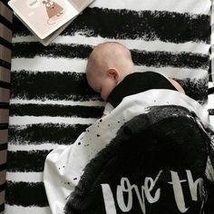 """""""Ink Stripe"""" Organic Cotton Knit Crib Sheet"""