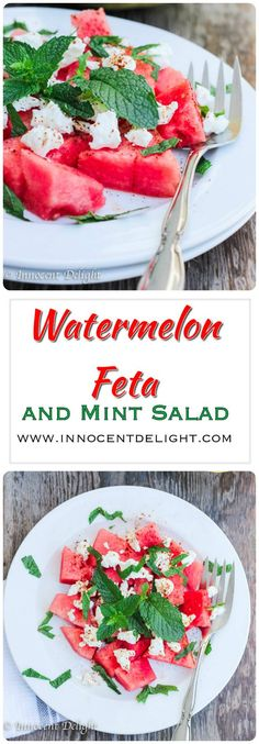 Watermelon Feta and Mint Salad, super refreshing Greek salad that can be on your table in less than 5 minutes.