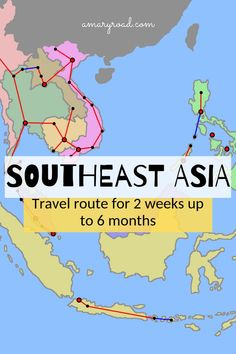 Southeast Asia Travel Route and Itineraries: From 2 weeks up to 6 months Planning your Southeast Asia itinerary? Check this very detailed Southeast Asia travel route; from 2 weeks, 4 weeks, 3 months or 6 months plus budget, safety Visit Vietnam, Vietnam Travel, Asia Travel, Luang Prabang, Laos, Thailand Travel Guide, Cambodia Travel, Backpacking Asia, Singapore